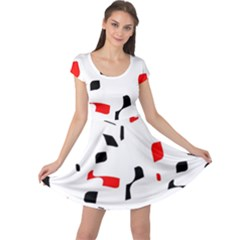 White, red and black pattern Cap Sleeve Dresses
