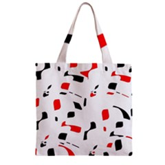 White, red and black pattern Zipper Grocery Tote Bag