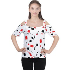 White, red and black pattern Women s Cutout Shoulder Tee