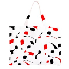 White, red and black pattern Large Tote Bag