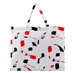 White, red and black pattern Zipper Large Tote Bag