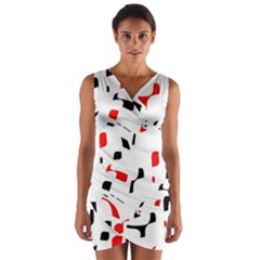 White, red and black pattern Wrap Front Bodycon Dress