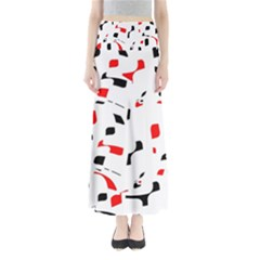 White, red and black pattern Maxi Skirts