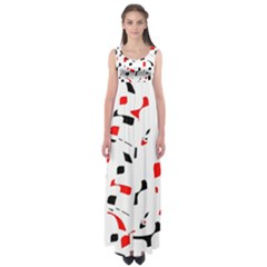 White, red and black pattern Empire Waist Maxi Dress