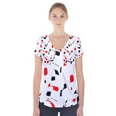 White, red and black pattern Short Sleeve Front Detail Top