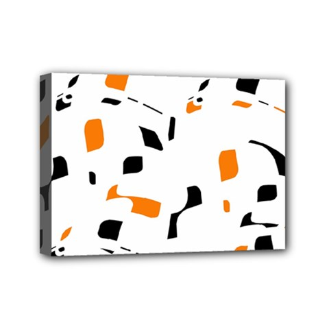 Orange, white and black pattern Mini Canvas 7  x 5