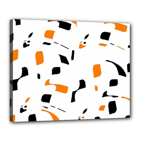 Orange, white and black pattern Canvas 20  x 16