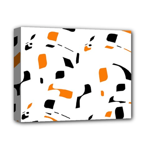 Orange, white and black pattern Deluxe Canvas 14  x 11