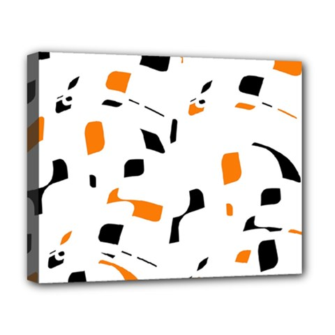 Orange, white and black pattern Deluxe Canvas 20  x 16