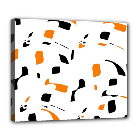 Orange, white and black pattern Deluxe Canvas 24  x 20