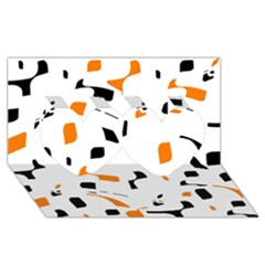 Orange, white and black pattern Twin Hearts 3D Greeting Card (8x4)