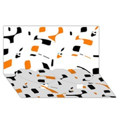 Orange, white and black pattern Twin Heart Bottom 3D Greeting Card (8x4)