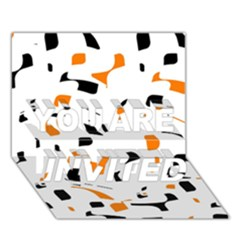 Orange, white and black pattern YOU ARE INVITED 3D Greeting Card (7x5)