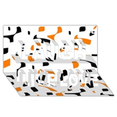 Orange, White And Black Pattern Laugh Live Love 3d Greeting Card (8x4)