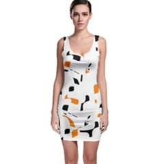 Orange, White And Black Pattern Sleeveless Bodycon Dress