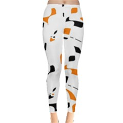 Orange, white and black pattern Leggings