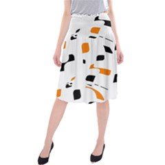 Orange, White And Black Pattern Midi Beach Skirt
