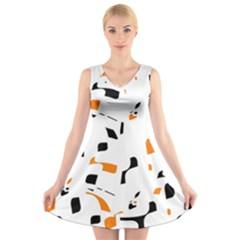 Orange, white and black pattern V-Neck Sleeveless Skater Dress