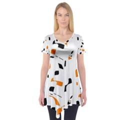 Orange, White And Black Pattern Short Sleeve Tunic