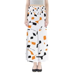 Orange, white and black pattern Maxi Skirts