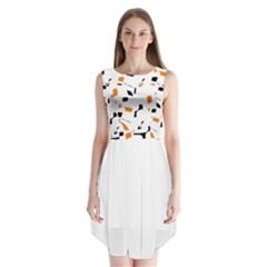 Orange, white and black pattern Sleeveless Chiffon Dress
