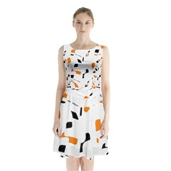 Orange, White And Black Pattern Sleeveless Waist Tie Dress