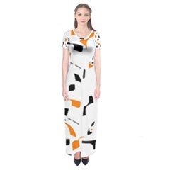 Orange, white and black pattern Short Sleeve Maxi Dress