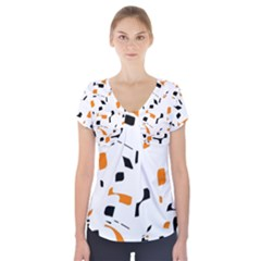 Orange, white and black pattern Short Sleeve Front Detail Top
