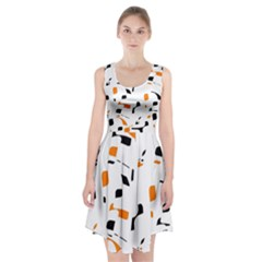 Orange, white and black pattern Racerback Midi Dress