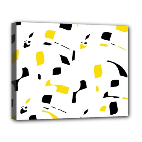 Yellow, black and white pattern Deluxe Canvas 20  x 16