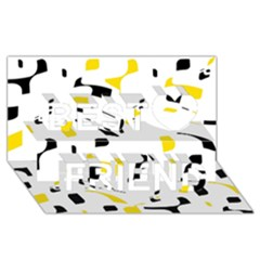 Yellow, black and white pattern Best Friends 3D Greeting Card (8x4)
