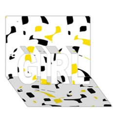 Yellow, black and white pattern GIRL 3D Greeting Card (7x5)