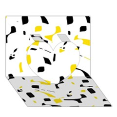Yellow, black and white pattern Heart 3D Greeting Card (7x5)