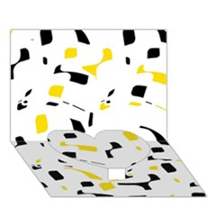 Yellow, black and white pattern Heart Bottom 3D Greeting Card (7x5)