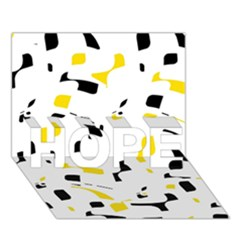 Yellow, black and white pattern HOPE 3D Greeting Card (7x5)