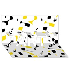 Yellow, black and white pattern PARTY 3D Greeting Card (8x4)
