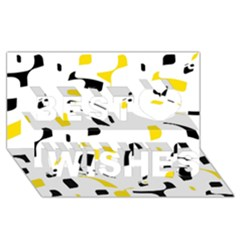 Yellow, black and white pattern Best Wish 3D Greeting Card (8x4)