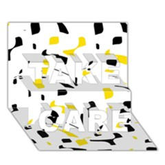 Yellow, black and white pattern TAKE CARE 3D Greeting Card (7x5)