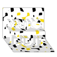 Yellow, black and white pattern You Did It 3D Greeting Card (7x5)