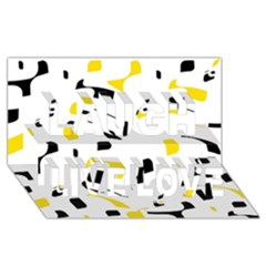 Yellow, black and white pattern Laugh Live Love 3D Greeting Card (8x4)