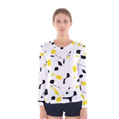 Yellow, black and white pattern Women s Long Sleeve Tee