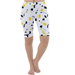 Yellow, black and white pattern Cropped Leggings