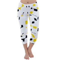 Yellow, Black And White Pattern Capri Winter Leggings