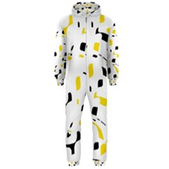 Yellow, black and white pattern Hooded Jumpsuit (Men)