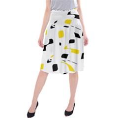 Yellow, black and white pattern Midi Beach Skirt