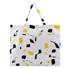 Yellow, black and white pattern Zipper Large Tote Bag