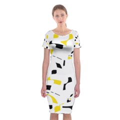Yellow, Black And White Pattern Classic Short Sleeve Midi Dress