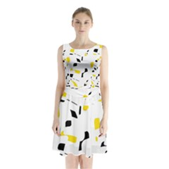 Yellow, black and white pattern Sleeveless Waist Tie Dress