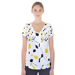 Yellow, Black And White Pattern Short Sleeve Front Detail Top