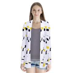 Yellow, black and white pattern Drape Collar Cardigan